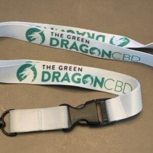 The Green Dragon CBD Lanyard with our official logo! White lanyard with Green Dragon logo and a silver clip at the end!